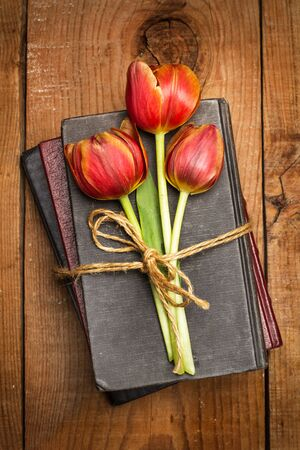 Three tulips on books on a wooden table