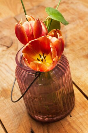 Tulips in a flower vase on a wooden table