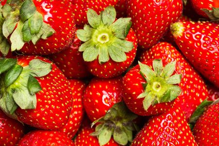 Delicious red strawberries in a close up view Zdjęcie Seryjne