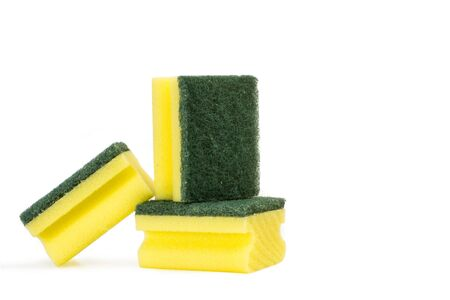 Cellulose sponges with scouring pads on a white background