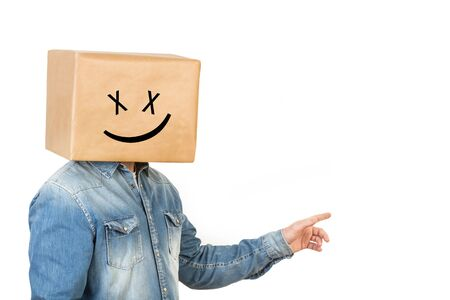 Man standing with his head in a box and laughing gesture drawn on it
