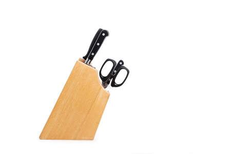 Wooden knife holder on a white background
