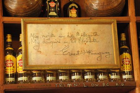 ernest: Havana, Cuba, June 2013 La Bodeguita del Medio Ernest Hemingway popular bar in Old Havana,Cuba Editorial