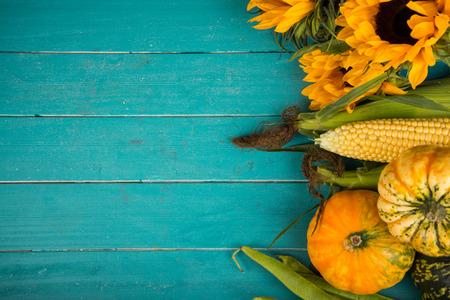 Farm fresh organic vegetables on rustic wooden blue table background Reklamní fotografie