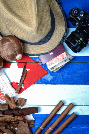 panama flag: Straw hat and vintage travel set in Cuba theme background