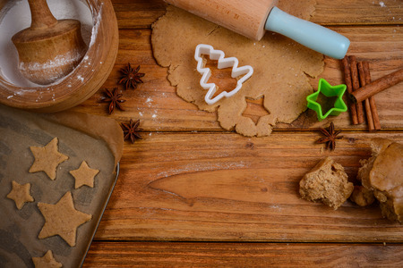 Preparation of gingerbread festive cookies photo
