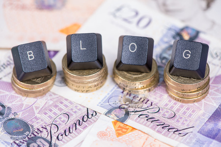 british money: Bussines blog header on british money background