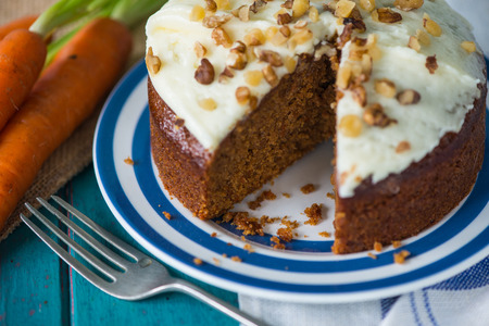 Fresh yummy carrot cake on plate Stock Photo