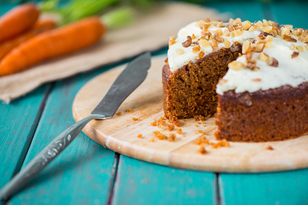 Fresh slice of carrot cake