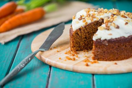 Fresh slice of carrot cake