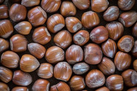 Fresh autumn hazelnuts background photo