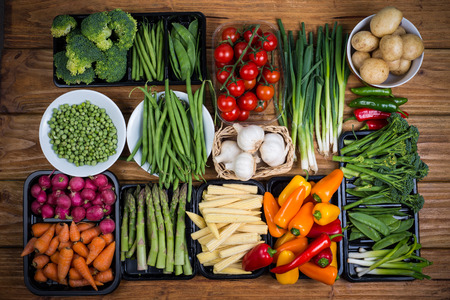vegetable salad: farm fresh vegetables on table Stock Photo