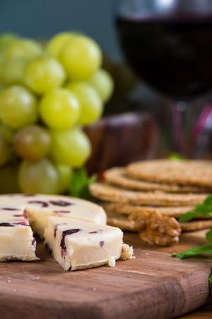 stilton: close view on cranberry white stilton cheese Stock Photo