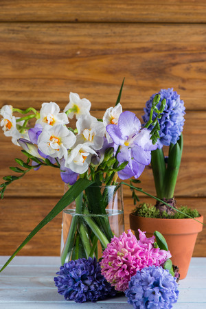 fresh spring flowers from garden photo