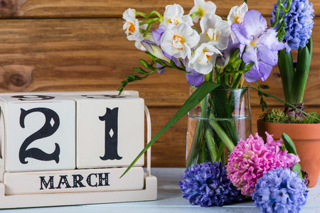 first day: First day of spring flowers and callendar