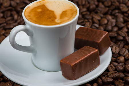 cousin: cup of coffee and chocolate Stock Photo