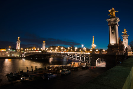 iluminated: Night view on iluminated Alexander III bridge and Eiffel Tower in Paris , France