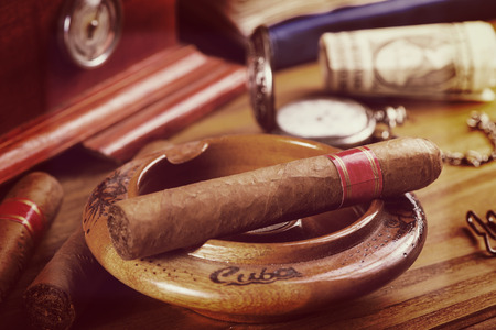 cuban cigars on table