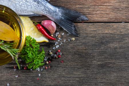 신선한 생선의 음식 배경, 요리 개념