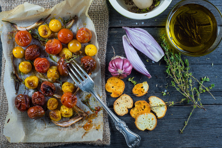 eating: Clean eating,roasted tomato with herbs and olive oil