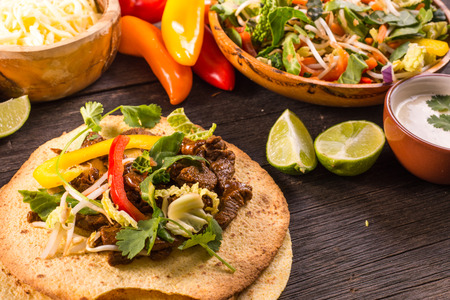 street food: making typical latin street food, mexican taco Stock Photo
