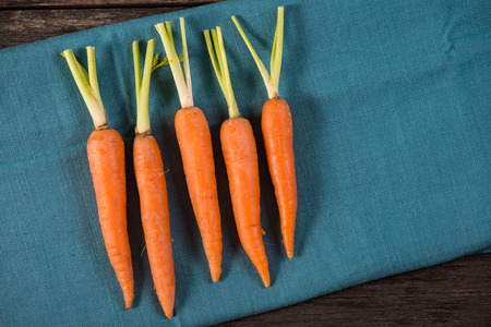 zanahoria: zanahorias org�nicas frescas en tela azul, desde arriba Foto de archivo