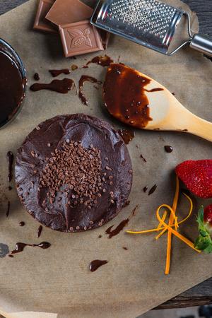 torte: homemade chocolate torte cake from above Stock Photo