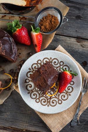 torte: overhead view on chocolate torte cake served on plate
