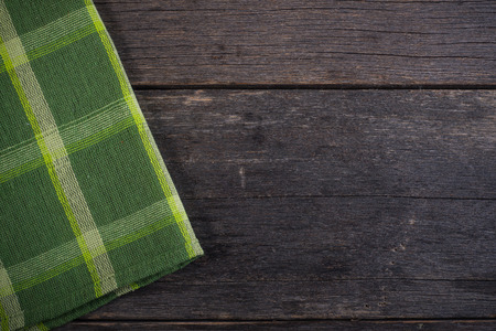 rustic  wood: Kitchen cloth on rustic wood background template Stock Photo