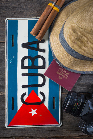Vakantie voorbereiding, bestemming Cuba Stockfoto