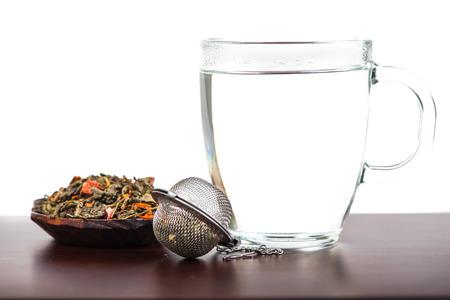 antioxidant: Aromatic antioxidant green tea on wooden board, isolated background