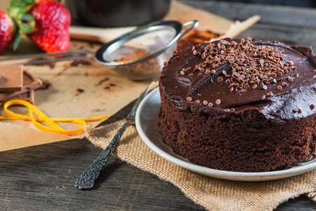 recipe decorated: serving homemade chocolate cake