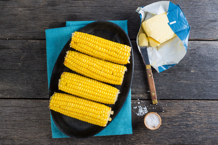 Homemade golden corn cob with butter and salt from above Stock Photo - 39146828