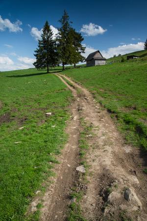 tatry: Rural trekking road in Polish Tatry and Pieniny mountains range