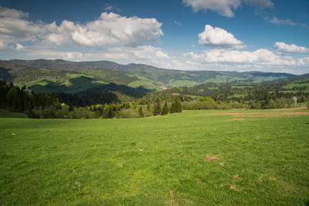 tatry: Scenic landscape hills and mountains  and blue cloudy sky in Polish Tatry and Pieniny mountains range