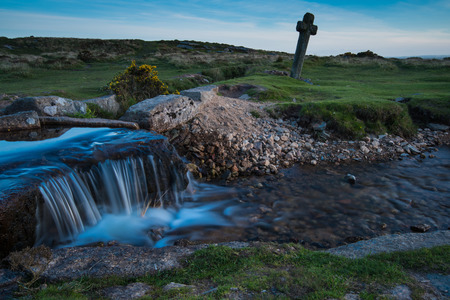 lapse: Legendary Windy Cross in Dartmoor at twilight, time lapse photo Stock Photo