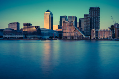 london landmark: London skyline over river Thames at twilight,vintage photo effect