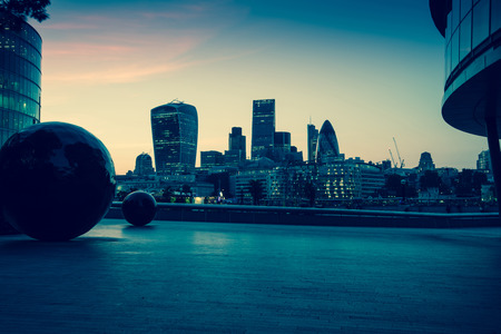 London downtown skyline at twilight, vintage effect photo Фото со стока