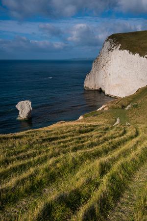 dorset: White cliffs in Jurassic Coast beach in Dorset, UK panoramic view