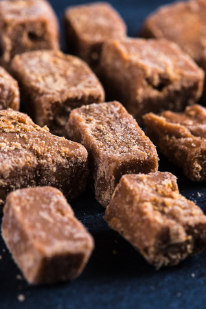 fudge: Traditional homemade fudge toffee, cut in squares cubes