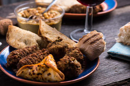 spanish style: Italian or spanish style snack tapas selection on wooden table