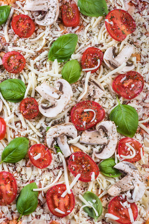 margherita: Homemade classic margherita pizza on wooden table Stock Photo