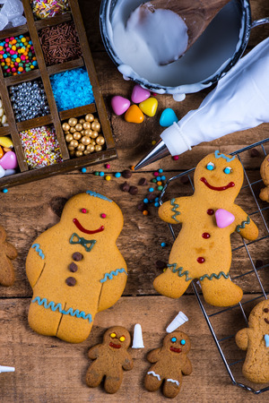 sugar cookie: Happy gingerbread man on table, Christmas decoration