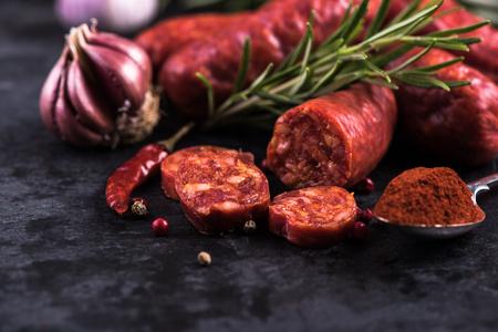 spanish traditional chorizo sausage, with fresh herbs