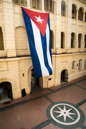 colonial building: Cuban flag on old colonial building in Havana, Cuba