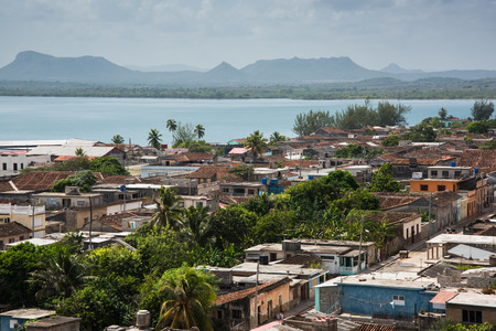 holguin: Cuba traditional colonial village of Gibara in Holguin province, hill top view Stock Photo