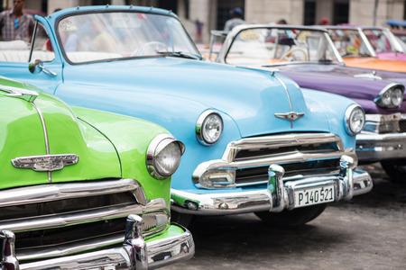 Havana, Cuba - September 22, 2015: Classic american car parked on street of Old Havana,Cuba. Classic American cars are typical landmark and atraction for whole Cuban island.