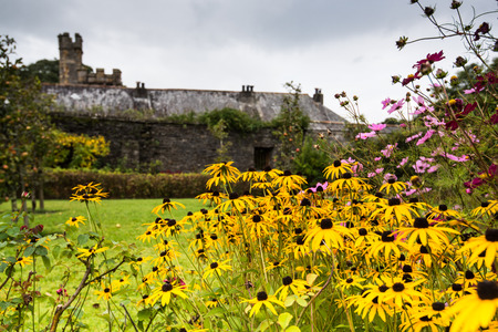 cistercian: Buckland Monachorum, United Kingdom - October 8, 2015: Buckland Abbey, Garden and Estate, a National Trust property in Devon and former home to Sir Francis Drake and Cistercian monks.