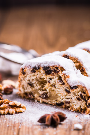 stollen: Traditional Christmas stollen cake Stock Photo
