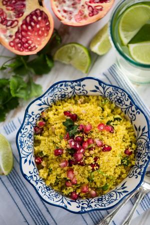 vegeterian: Vegeterian healthy salad, cous cous in bowl, overhead view